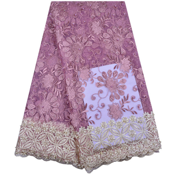 best selling French Lace Fabric High Quality African Lace Fabric Light Purple Nigeria Lace Fabric For Wedding Party Dress A1338