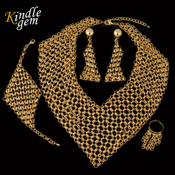 2017 High Fashion Haute Couture Italy Pure Gold Color Earrings Necklace Bracelet Ring Sets Big Bridal Wdding Party Jewelry Set