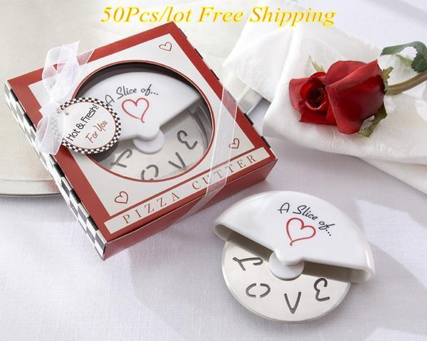 (50 pieces/lot) Heart love pizza cutter wedding and party favors for Heart wedding gift and wedding souvenirs
