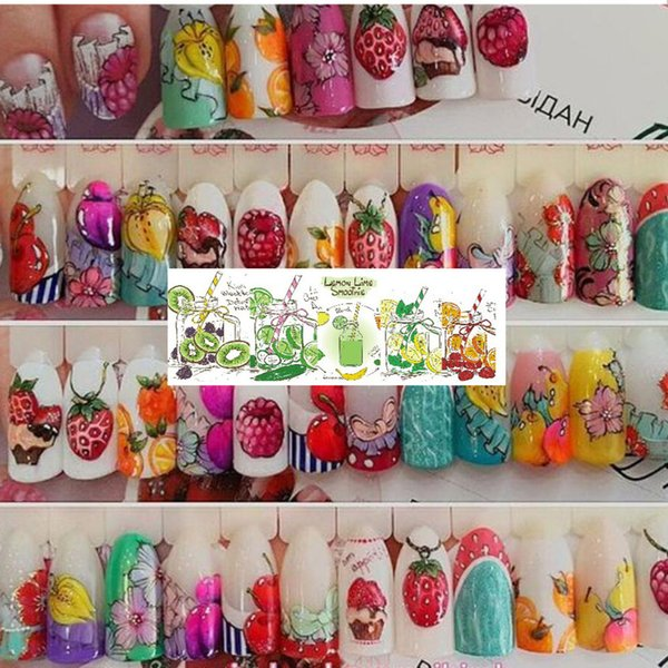 Women Girls 18 Sheets/Set Cake Ice Cream Nail Sticker Colorful Fruit Women Girls Nail Decal Wrap Manicure Decor
