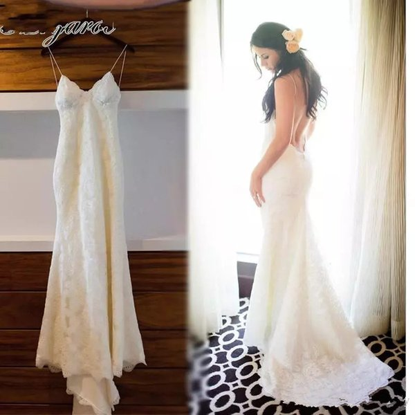 Full Lace Mermaid Wedding Dresses robe de mariage Backless Summer Holiday Trumpet Beach Bridal Dresses Spaghetti Straps Wedding Gowns