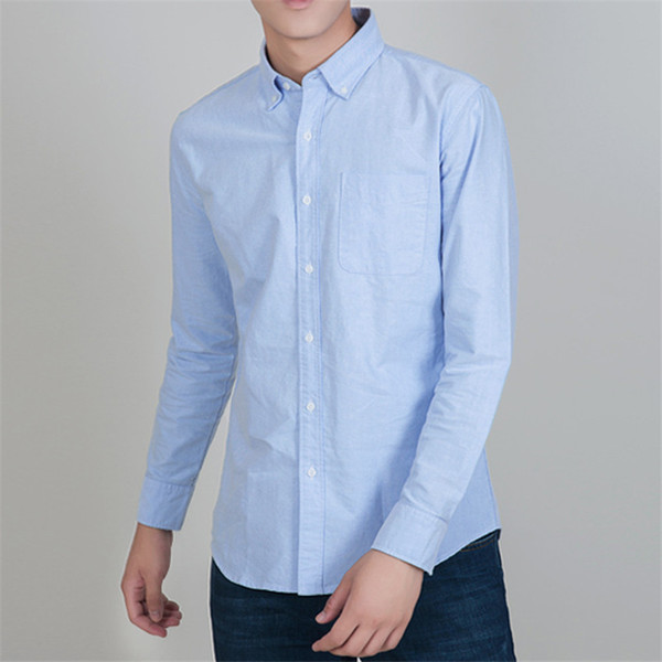 Spring Autumn Men Dress Shirts Solid Slim Formal Oxford Shirts Long sleeve striped Male Fit Business 4XL Tops A736