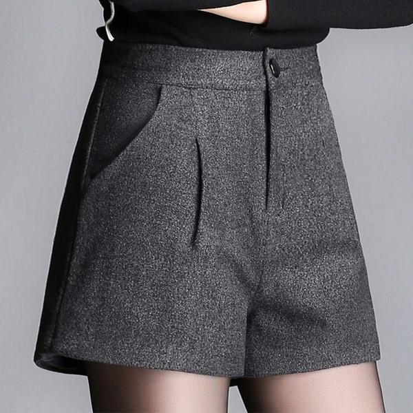 Pantaloncini di lana larghi grigi neri a vita alta da donna casual autunno inverno, pantaloncini di lana sciolti 3xl donna nuova donna autunno 2018
