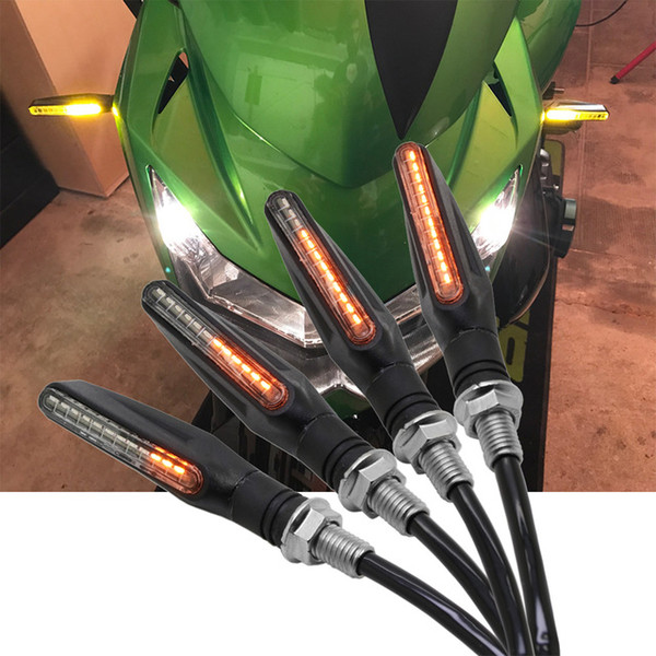 best selling 4X Motorcycle Turn Signal Light LED Flicker Motocross Flowing Water Blinker Flexible Bendable Tail Indicator flasher Lamp