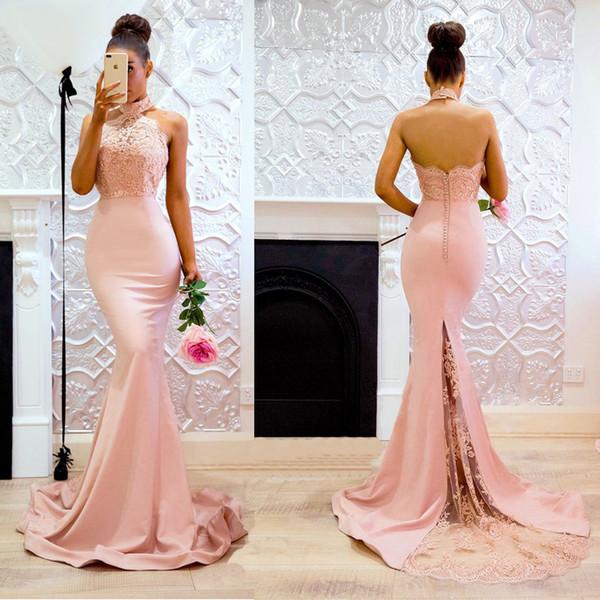 Sexy Backless Rosa Satin Memaid Lange Abendkleider Spitze Appluque Neckholder Knöpfe Sehen Sweep Zug Prom Party Kleid