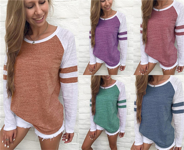 49cd3d62a1c8 Plus Size Women Striped t Shirt Brown White Spring Autumn Casual Long  Sleeve Lady Tops Loose
