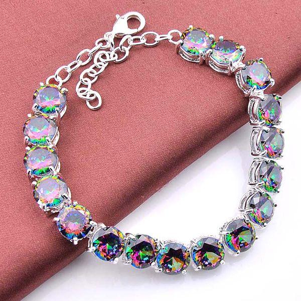 3PCS / LOT Wedding Gift Classic Natural Mystic Topaz Gemstone 925 Sterling Silver Plated Bracelet Bangle Russia Bracelet Jewelry
