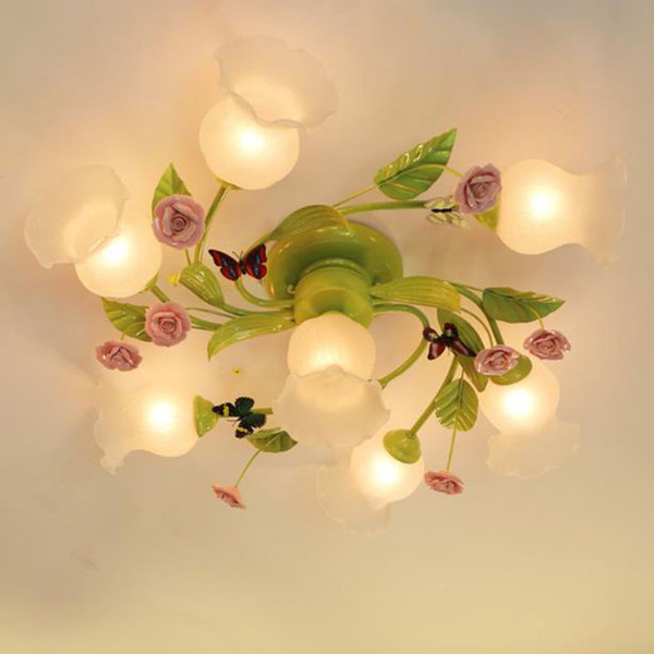 Европейский стиль детская спальня потолочная люстра освещение, розовая роза декоративные зеленые люстры лампа для комнаты девушки, 4 7 домашний свет