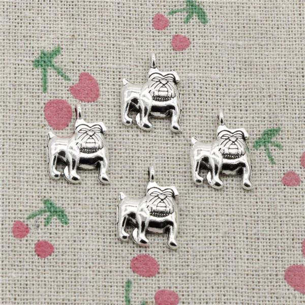 114pcs Charms dog pug bulldog 17*13mm Antique Silver Pendant Zinc Alloy Jewelry DIY Hand Made Bracelet Necklace Fitting