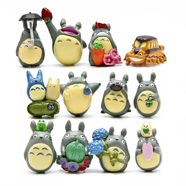 12pcs PVC Totoro with umbrella action figure toys set 2018 New Japanese anime educational toys for children mind games