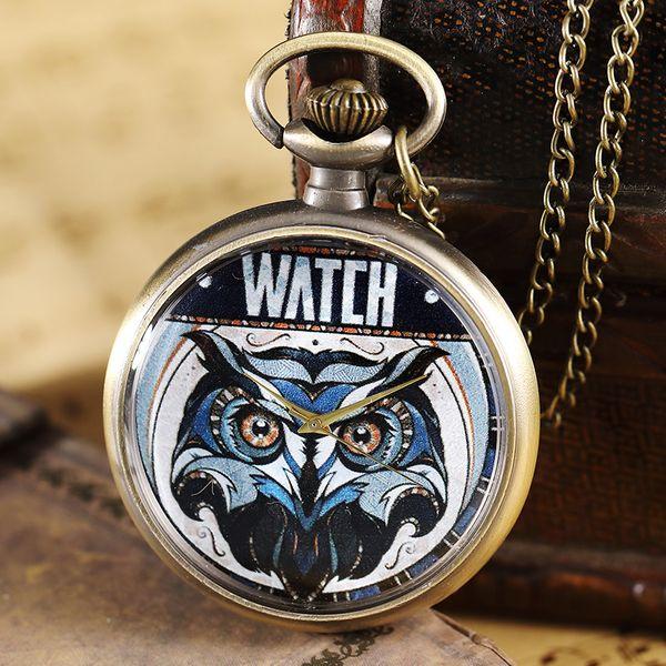 Retro Owl Painted Pattern Pocket Watch Men Women Elegant Necklace Pendant FOB Chain Clock Bronze Vintage Steampunk Pocket Watch