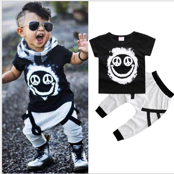 Baby Boy Clothes 2pcs Short-sleeved T-shirts + pants children Boys Summer style Kids clothing boy set Smiley face