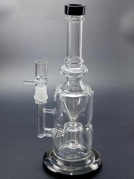 Schwarzer Becher Bong Öl Rigs Doppelpercolator Bongs 29cm hoch Glas Wasserrohre 18,8 mm Glas Bong Recycler Wasserpfeifen Bubbler Pfeife