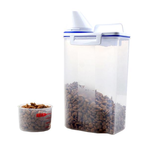 Pet Food Tank Cat Dog General Food Moisture-proof Sealing Bucket Portable 2kg Dog Food Bucket Measuring Cup
