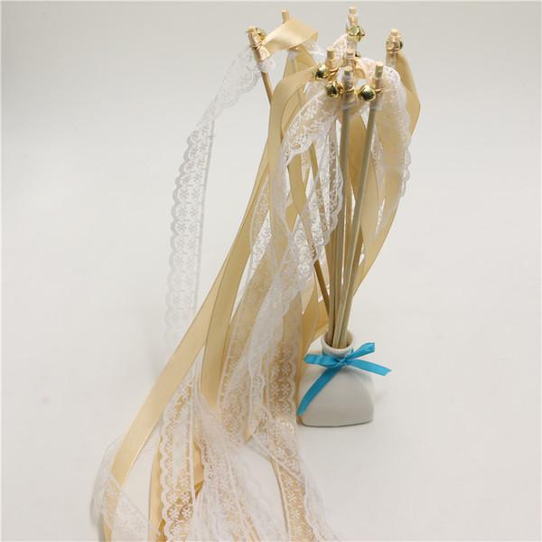50pcs of Champagne white LACE Wedding Ribbon Wands Wedding Confetti Twiring Stream Ribbon Sticks Wands with Bells