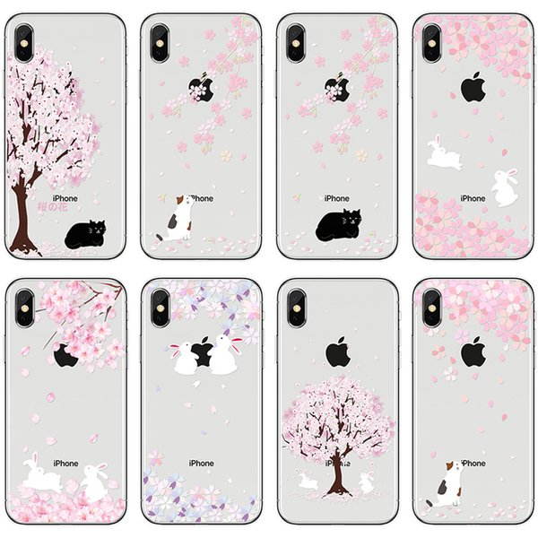 [TongTrade] Soft Silicone TPU For iPhone X 8 7 6s 5s Plus Cover Case Cherry Tree Peony Cats Dogs Painting Galaxy S9/S8/S7/S6 Edge Plus Case