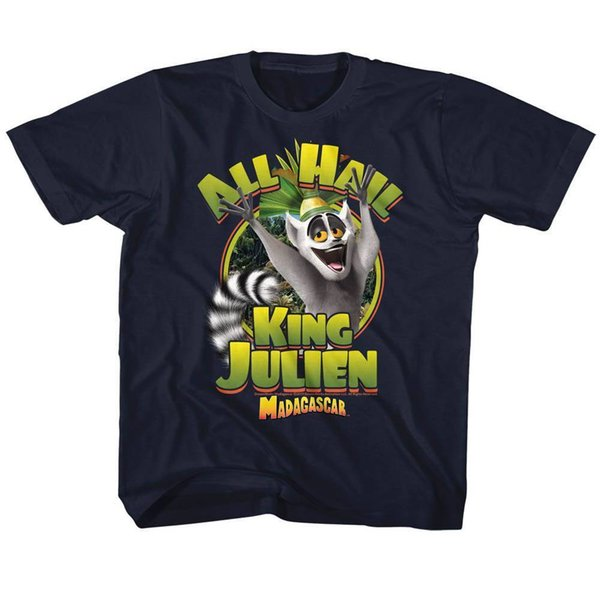 MADAGASCAR Camiseta de manga corta para niños pequeños para niños NAVY KING JULIEN