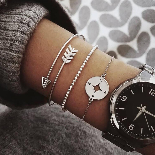 2 Style Bohemian Hollow Arrow Compass Beads Chain Silver Multilayer Bracelet Women Exquisite Charm Jewelry Gift