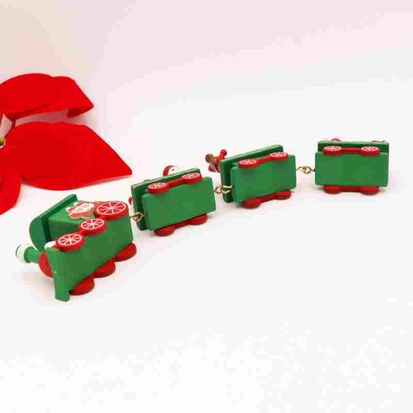 Weihnachtszug malte Holz mit Sankt Bär Weihnachtskind spielt Geschenk Verzierung