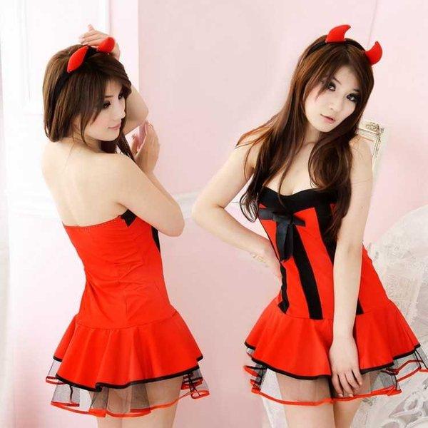 Freies Verschiffen-neue reizvolle Wäsche cosplay Maid-Schwarz-rotes Halloween-Kostüm-Teufel-Satz-Bar Nachtklub-Satz-Weihnachtskostüm-Uniform-Pyjamas