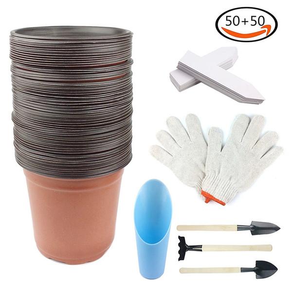"50Pcs 6"" Plastic Flower Nursery Pots Seeding pot & 50 White Plant Labels &1 Pair Gardening Gloves& Mini Garden Hand Tools"