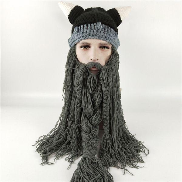 Knit Men's Winter Hat Barbarian Vagabond Viking Beard Beanie Crochet Caps Women Halloween Christmas Gift Party Face Mask Beanies Xmas horn