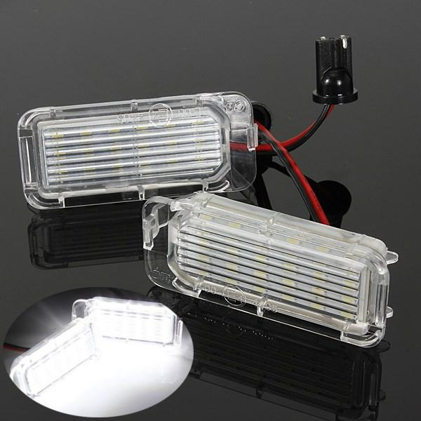 2PCS 18LED SMD License Plate Light No Error For FORD Focus MK2 Hatchback Facelifted MK3 Fiesta MK6 Mondeo MK4 S-Max MK1