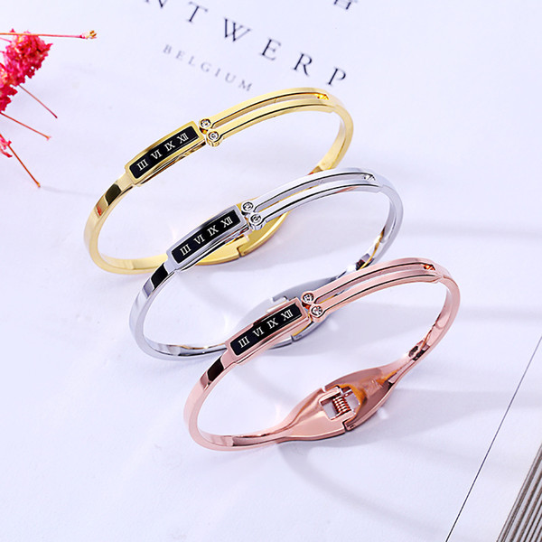 Simplicity Women Black Shell With Roman Numerals Bracelet 3 Colors 18K Rose Gold Bangle For Daily Wearing Best Gifts For Party, Anniversary