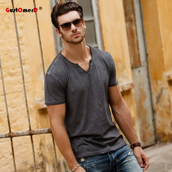 wholesale 2017 Fashion New Summer T shirts Solid Color V-neck Tops Tees Slim Fit Men Casual Brand Clothes Mens Grey T shirts
