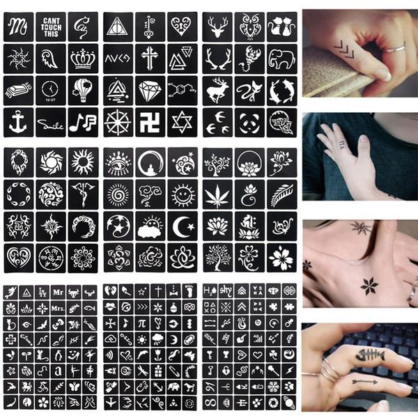 1 Sayfalık 48 veya 12 haritalar Kına Dövme Şablonları Geçici Glitter Airbrush Kına Dövme El Parmak Stencil Boyama Için # 242097
