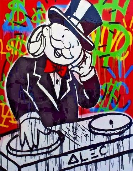 High Quality Handpainted & HD Print Alec Monopoly Mr Brainwash Graffiti Pop Art Oil Painting The DJ Music On Canvas /Frame Options g270