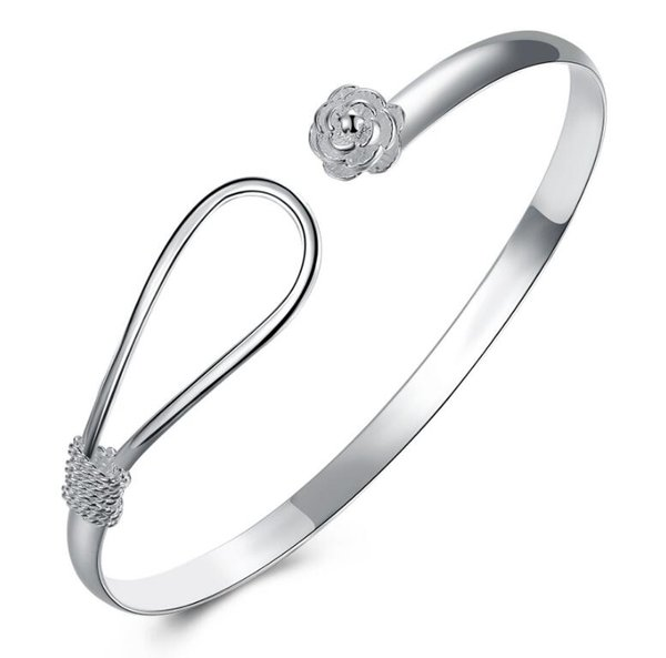 925 Silver New 10 piece/lot Product Charm Handmade Classic Rose Flower Open Adjustable Bangles Antique 925 Silver Bracelets Bangles