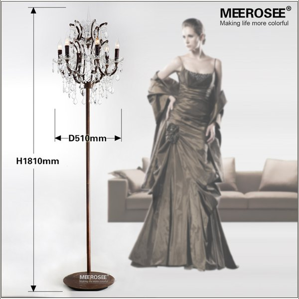 Hot Sale Vintage Style Crystal Floor Lamp Rustic Color Standing Lamp with 6 Lights for Living Room Study Hotel Sitting Room