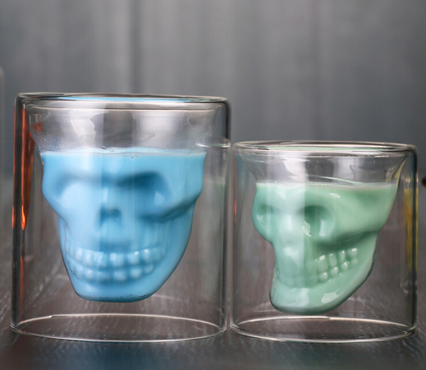 Glass skull skull glass cup personality bar wine glass creative double transparent crystal beer mug Drinkware
