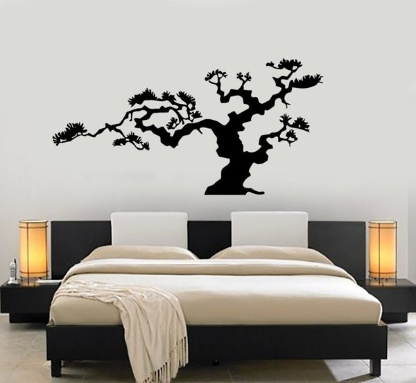 Japanese Bonsai Tree Vinyl Wall Stickers for living room bedroom home wall decoration
