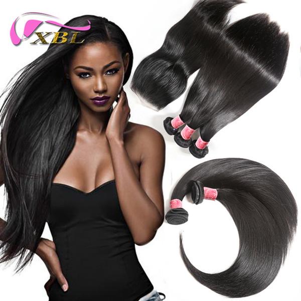 Brazilian Straight Hair Bundles with Lace Closure Malaysian Peruvian Indian Cambodian Virgin Human Hair Weave and Top Closures Free Shipping