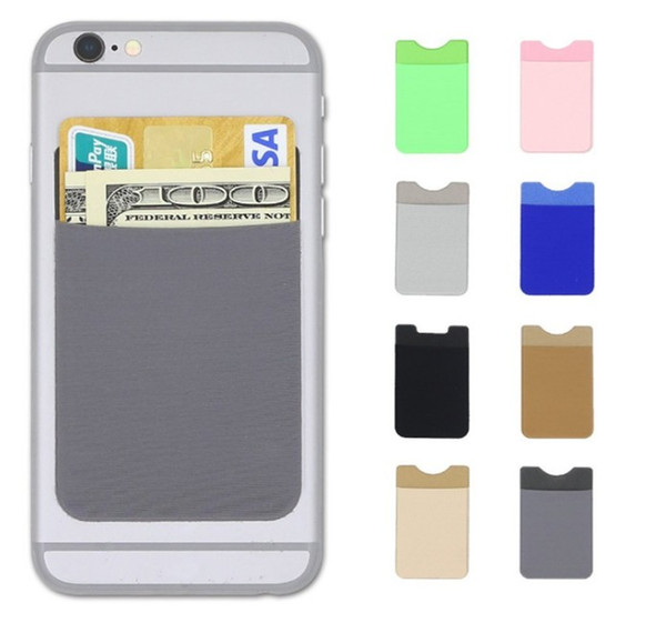 Soft Sock Wallet Credit Card Cash Pocket Sticker Lycra Adhesive Holder Money Pouch Mobile Phone 3M Gadget iphone Samsung LLFA