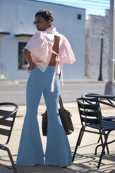 2018 New Style Brand Fashion Casual Jeans Full Length Denim Wide Leg Pants Sexy Women Trousers Mid Button Fly Long Loose Flare Pants