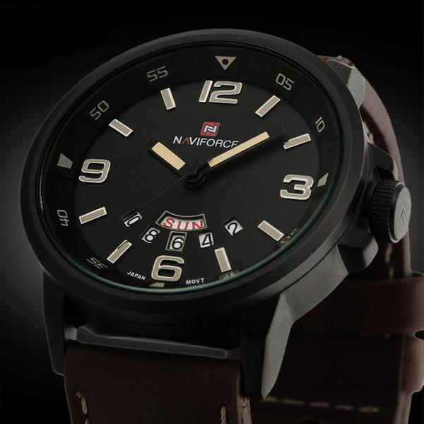 2018 Марка NAVIFORCE часы мужчины повседневная мужская аналоговый кварцевые дата спорт армия кожа наручные часы Водонепроницаемые часы Reloj Hombre