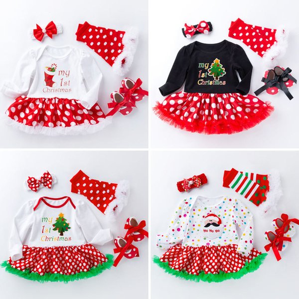 Christmas Halloween Baby Rompers TUTU Long Sleeved Santa Claus Infant Jumpsuit+Socks+Headbands+First Walker shoes Sets 0-2T Retail C01