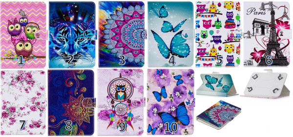 Universal Leather Wallet Case For Ipad Air Pro 7inch ,8inch ,10inch Tablet Owl Flower Butterfly Dreamcatcher Flip Paris Eiffel Tower Cover