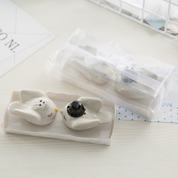 New 100pcs=50sets/LOT Bride Groom Angel Love Birds Salt and Pepper Shaker Wedding Favors and Gits for Guest Free shipping