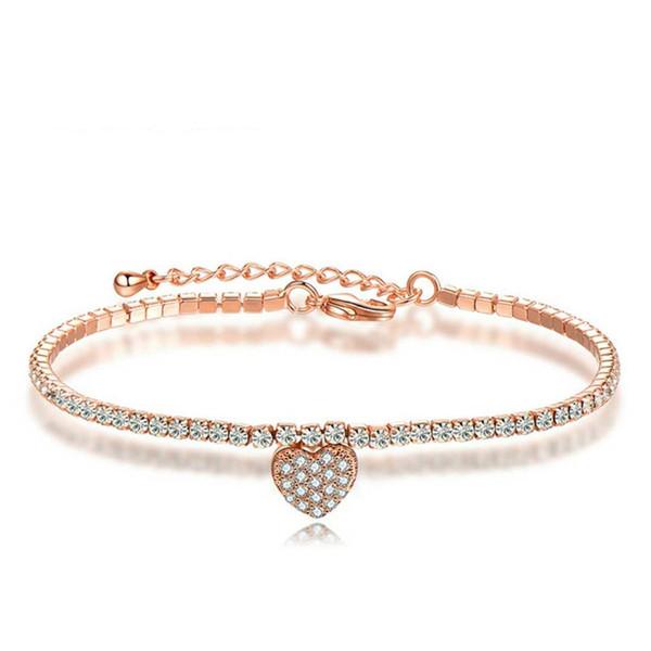 New Fashion Women Charm Bracelet 18K Rose White Gold Plated AAA CZ Love Heart Bracelets for Girls Women for Part Wedding BRC-193