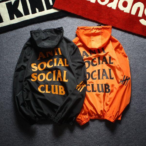 Erkekler Ceket Ceket Güneş Koruyucu Rahat Mens Giyim Ceketler Mektup Baskılı Yaka Kapüşonlu Siyah Rüzgarlık Streetwear S-XXL ile Tops