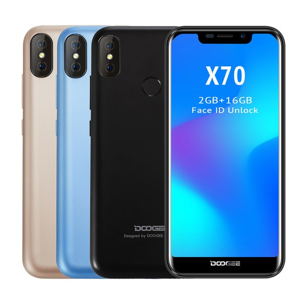 "Doogee X70 Android 8.1 5.5"" Smartphone 19:9 U-notch screen 4000mah 2GB RAM 16GB ROM face ID Dual rear camera 8MP 3G Mobile phone"