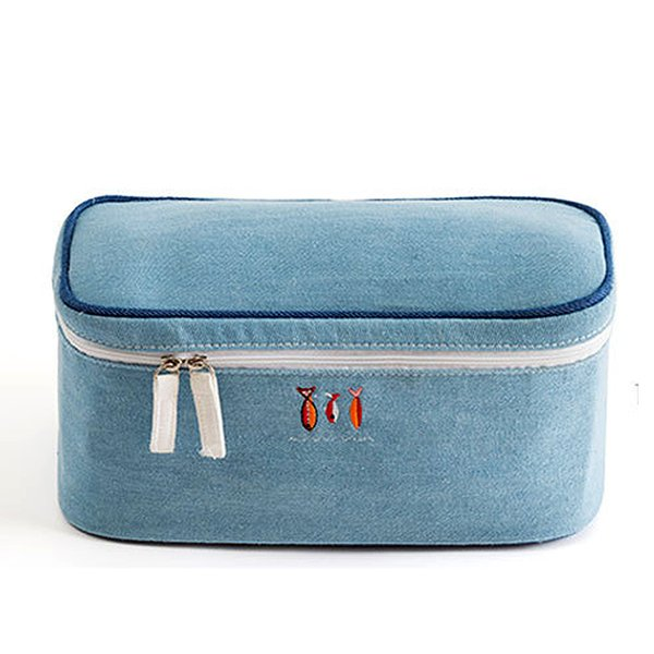 Wohlbege Bra Underwear Denim material Travel Bags Suitcase Organizer Women Travel Bags Lingerie Toiletry Wash Fashion