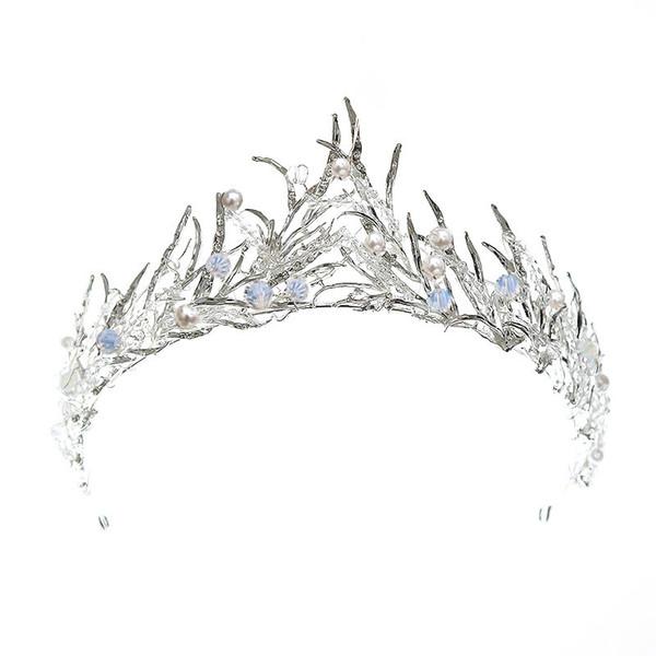 Silber Braut Haarschmuck Kristall Perlen Kronen und Diademe Hochzeit Haarband Schöne trendige Kopfschmuck Braut Stirnbänder