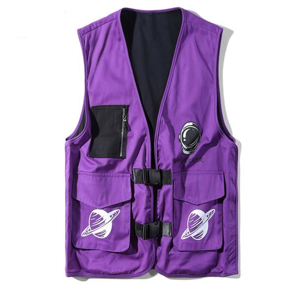 Herbst neue ärmellose Weste Männer Hip Hop Vintage Streetwear Taschen taktische Outwear Astronaut Print Casual Weste Jacken AD02
