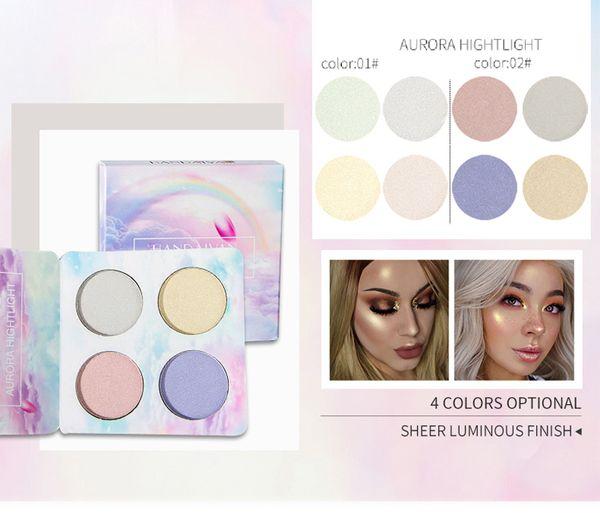Dropshipping HANDAIYAN Chameleon Highlighter Paleta Rosto Contorno Maquiagem Destacando Bronzer Brilho Aurora Shimmer Eyeshadow Cosméticos Kit