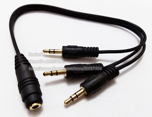 """1/8"""" 3.5mm Stereo Female to Three 3.5MM Stereo Male Plug Audio Extension Connector Cable/Free Shipping/10PCS"""
